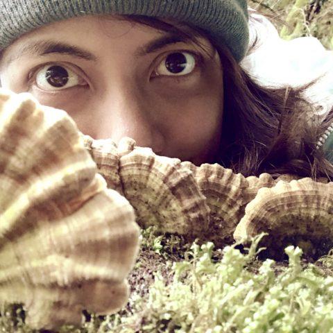 Closeup portrait of guide Martha with mushrooms
