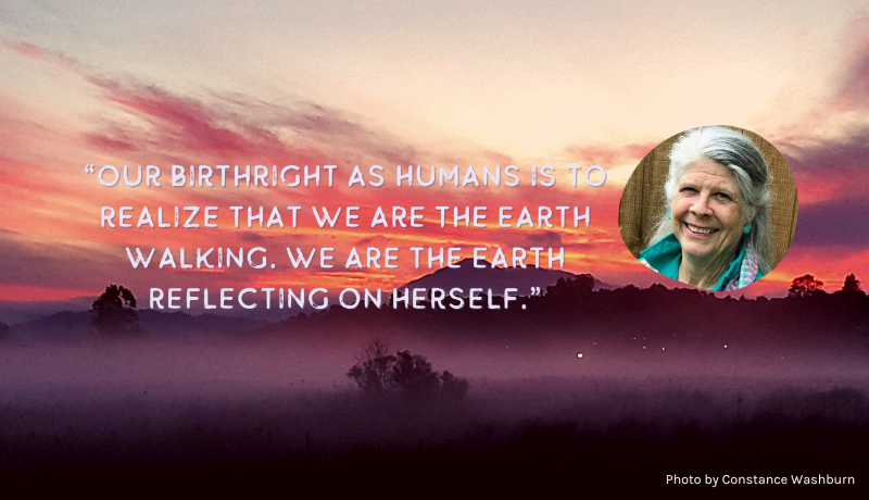"""portrait of elder with quote """"Our Birthright as humans is to realize that we are the earth walking. we are the earth reflecting on herself."""""""